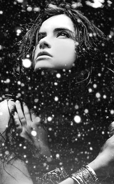 lady in snow by night