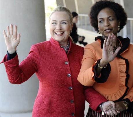 US Secretary of State Hillary Clinton (L
