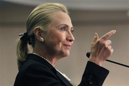 U.S. Secretary of State Hillary Clinton delivers a keynote address on