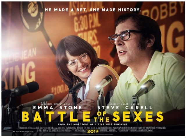 "Battle of the Sexes movie 2017- based on the true story tennis match between women's No 1 – Billie Jean King and fifty something ex-champ and self-proclaimed ""male chauvinist pig"" Bobby Riggs"