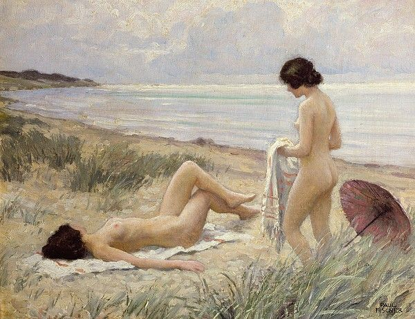 vintage lesbian lovers by the sea